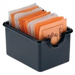 koszyk, pojemniczek na saszetki, z akrylu, czarny - 12 szt, T5000