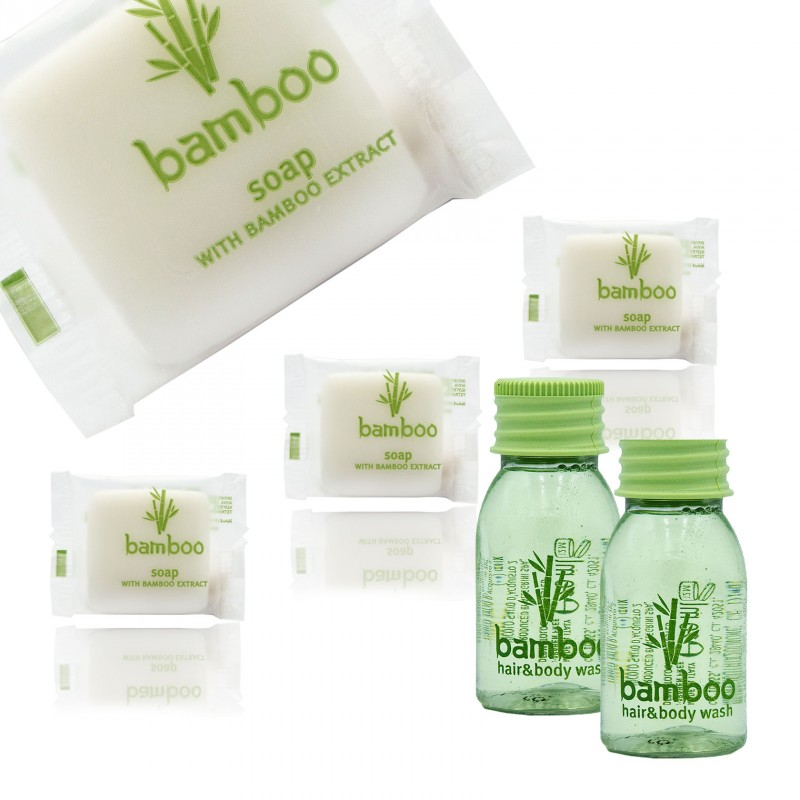 Zestaw kosmetyków dla hoteli Bamboo szampon-żel 20ml 100szt +
